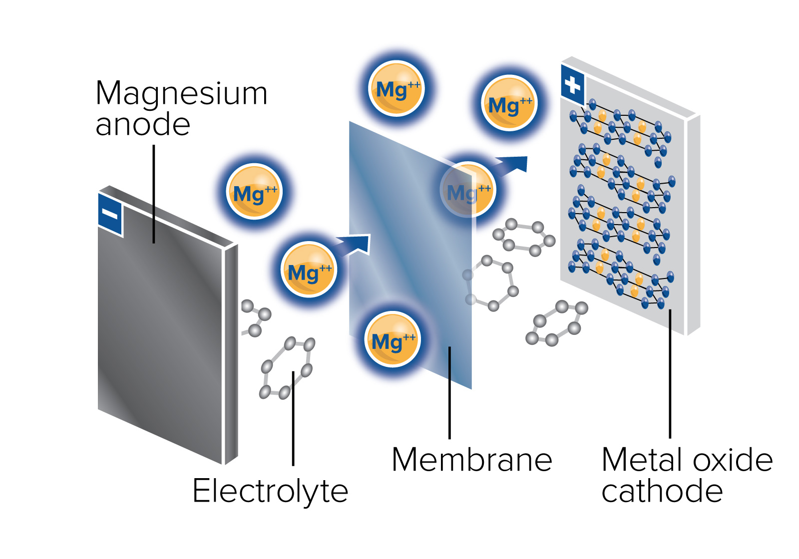 In multivalent batteries, JCESR scientists replace singly charged lithium ions, which are used in the lithium-ion battery, with doubly or triple charged working ions. This could increase the battery energy storage capacity by a factor of two or three and is attractive for transportation applications.
